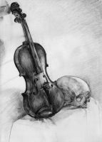 Violin with Skull by VTomi