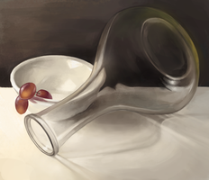 Still life - Glass and porcelain (and grapes) by Luccorvus