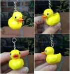 Rubber Duck clay keychain commission by SculptedCreations