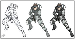 Solid Snake: Lineart + Colors by AenTheArtist