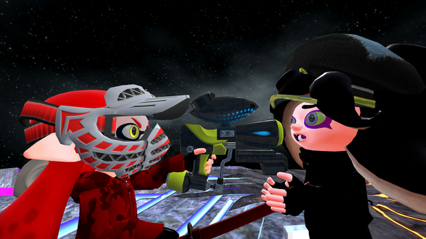 SFM Inklibot Red vs Major Octoling by superneung47