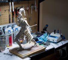 Dragon Slayer Ornstein cast.. and messy desk! by MichaelEastwood