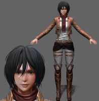 Mikasa Ackerman(wip3)Close-up Face by tetsuok9999