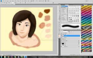 korean girl painting WIP by karlonne