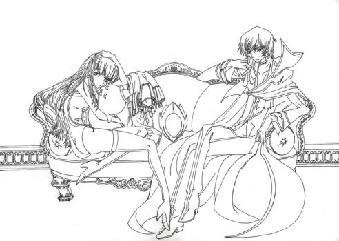 Lelouch and C.C. - Lineart HQ by Andrex91