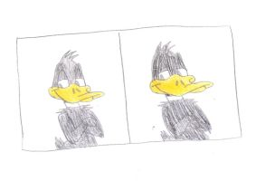 Daffy Duck colored drawing made at course by MarcosLucky96