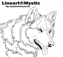 Wolf lineart. by TheMysticWolf
