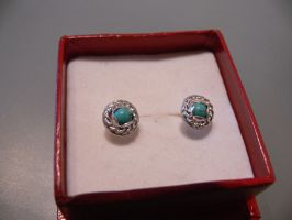 silver ear rings with turquois by irineja