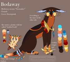 Bodaway Ref sheet by PawesomeSauce