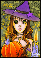 Pumpkin Witch ACEO by tea-bug