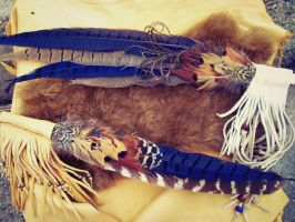 Smudge Fans with Leather Fringe by xsaraphanelia