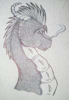 Dragon Head- Ink by FlameShuken