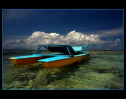 Blue and yellow boat by nikongriffin