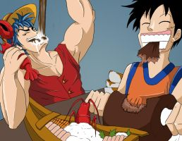 Luffy and Toriko Cross Over by HellGab