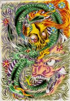 Dragon Skull And Oni by ElTri