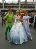 Cinderella, Wendy Darling and Peter Pan. by pegsicle