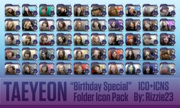 Taeyeon Birthday Special Folder Icon Pack by Rizzie23
