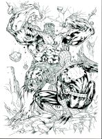 Spiderguile Spiderman Hulk inks by JosephLSilver