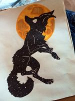 Starry night wolf by 13lolly