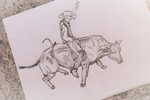 Sketch of My Little Brother Riding a Bull. by Lil-Christa