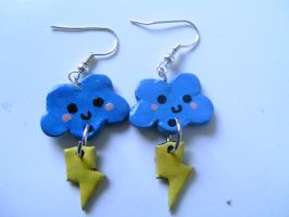 Cloud and Lightning Earrings by ceciliaalovee