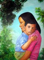 Mother and child acrylic on wood 11x14in by JASONS21
