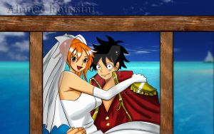 One piece Nami and Luffy's wedding by gelo-tim