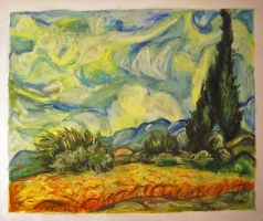 Wheat Field with Cypress Van Gogh Reproduction by cusT0M