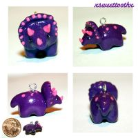 Tiny Triceratops charm by xsweettoothx
