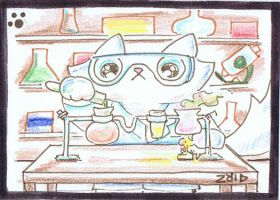 Funny cat is a scientist ACEO by KingZoidLord