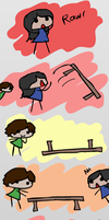 Chibi flip tables by Mythical-Human