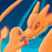 Charmander and Charizard by LycheeLove