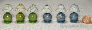 Mini Blue and Green Orb Lamps by Kyle-Lefort