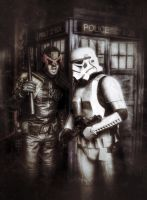 Dredd, the trooper, and the Doctor. by aboshell