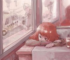 Sad cafe by achikun