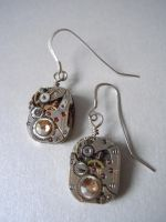 Steampunk Antique Watch Movement Earrings by A-Sharper-Spectrum