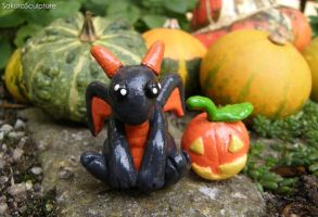 Halloween Dragon Surrounded by Pumpkins by SakuraSculpture