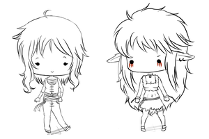 Commission: Chibi sketch OC's by ShineDUS