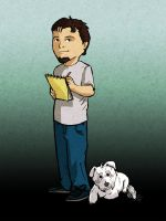 Self Portrait with my dog by Garrenh
