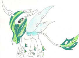 my as a rare white changeling X3 by Ponyness1