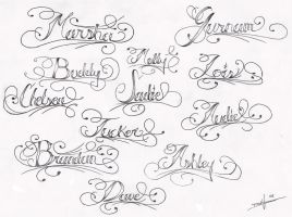 Page-o-Names Tattoo Flash by aworldasleep