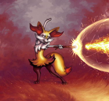 Braixen Beamu! by Choedan-Kal