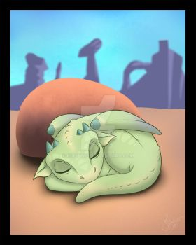 Sleeping Dragon Cartoon by Kitsunie