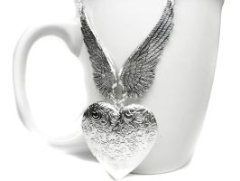 Angel Wing Necklace. Valentines Day Necklace by pila12903