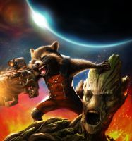 Rocket Raccoon and Groot - WIP by Callyste