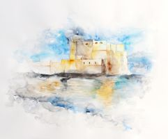 The oldest castle in my town - Castel dell'Ovo by AirelavArt