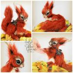 Luthias the Fire Fairy Squirrel ~Poseable Creature by RikerCreatures