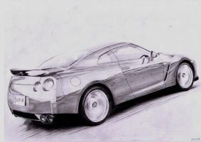Nissan GT-R - pencil drawing by AjoslaF