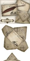 Printable Steampunk Envelopes Secret Messages by VectoriaDesigns