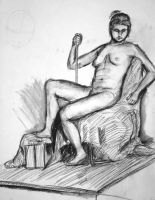 Nude on Cloth Covered Chair by DeadSheep35